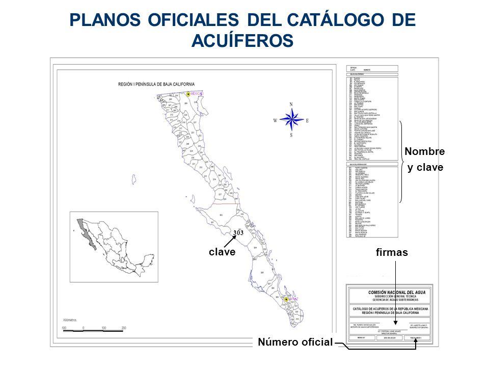 PLANOS OFICIALES DEL CATÁLOGO DE ACUÍFEROS Nombre y clave clave 303 Número oficial firmas