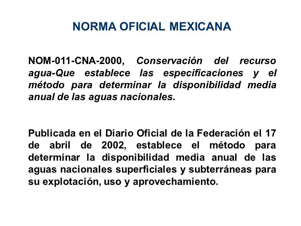 NOM-011-CNA-2000, Conservación del recurso agua-Que establece las especificaciones y el método para determinar la disponibilidad media anual de las ag