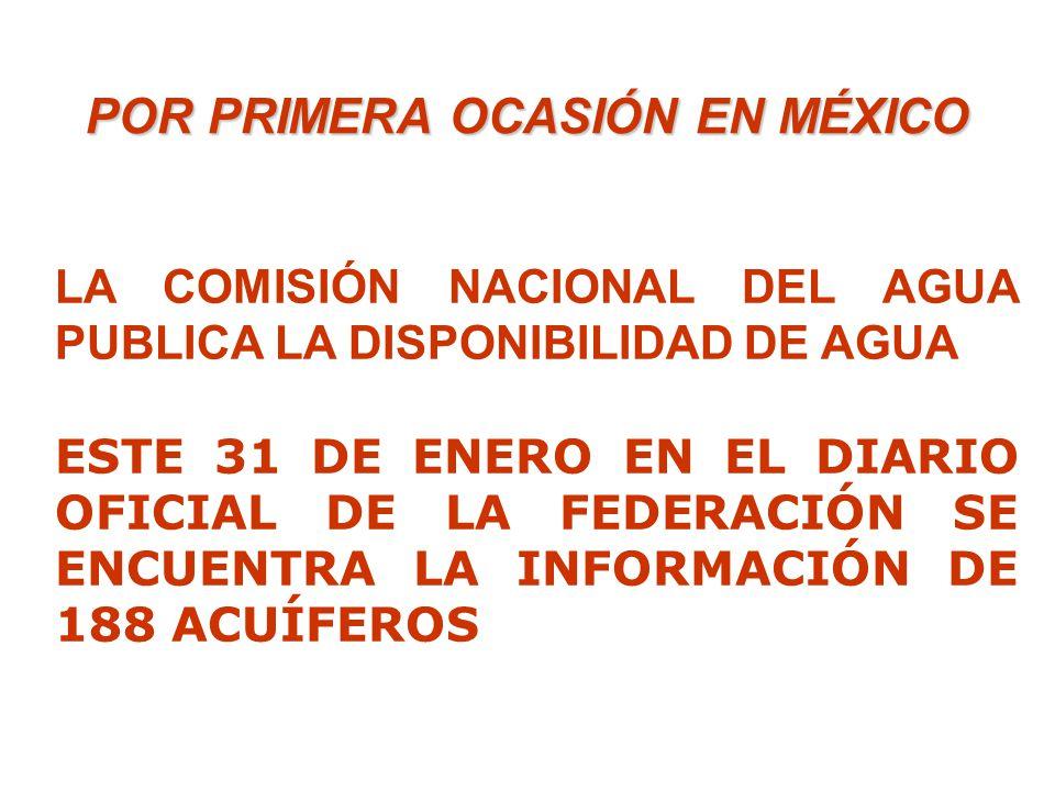 LA COMISIÓN NACIONAL DEL AGUA PUBLICA LA DISPONIBILIDAD DE AGUA ESTE 31 DE ENERO EN EL DIARIO OFICIAL DE LA FEDERACIÓN SE ENCUENTRA LA INFORMACIÓN DE