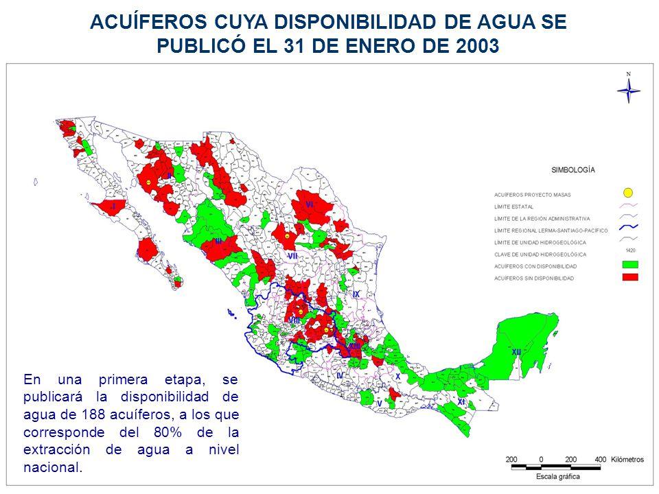 ACUÍFEROS CUYA DISPONIBILIDAD DE AGUA SE PUBLICÓ EL 31 DE ENERO DE 2003 En una primera etapa, se publicará la disponibilidad de agua de 188 acuíferos,