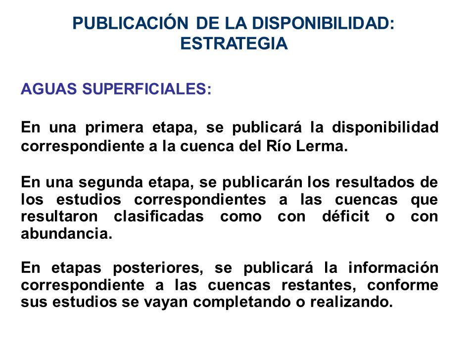 PUBLICACIÓN DE LA DISPONIBILIDAD: ESTRATEGIA AGUAS SUPERFICIALES: En una primera etapa, se publicará la disponibilidad correspondiente a la cuenca del