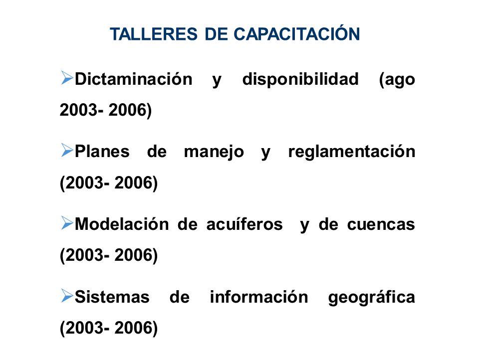 Dictaminación y disponibilidad (ago 2003- 2006) Planes de manejo y reglamentación (2003- 2006) Modelación de acuíferos y de cuencas (2003- 2006) Siste