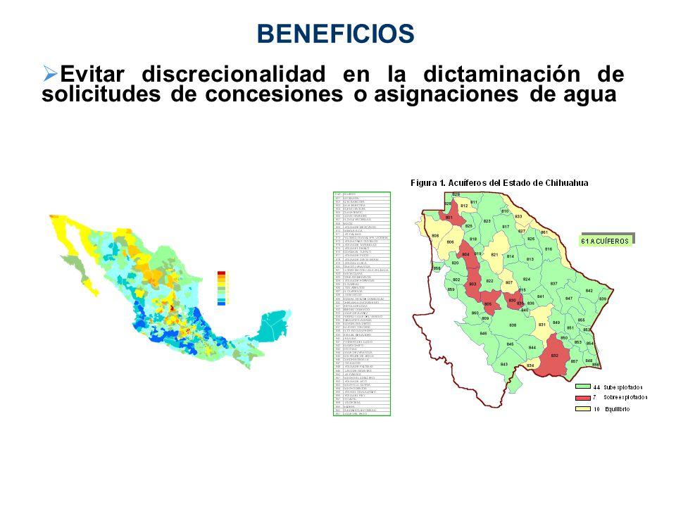 BENEFICIOS Evitar discrecionalidad en la dictaminación de solicitudes de concesiones o asignaciones de agua