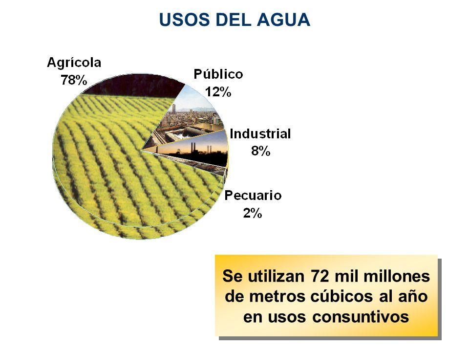 Se utilizan 72 mil millones de metros cúbicos al año en usos consuntivos USOS DEL AGUA