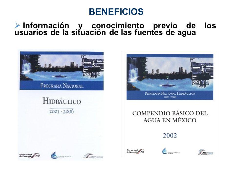BENEFICIOS Información y conocimiento previo de los usuarios de la situación de las fuentes de agua