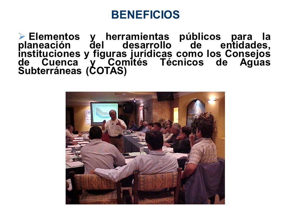 BENEFICIOS Elementos y herramientas públicos para la planeación del desarrollo de entidades, instituciones y figuras jurídicas como los Consejos de Cu