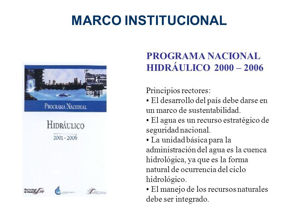 PROGRAMA NACIONAL HIDRÁULICO 2000 – 2006 Principios rectores: El desarrollo del país debe darse en un marco de sustentabilidad. El agua es un recurso