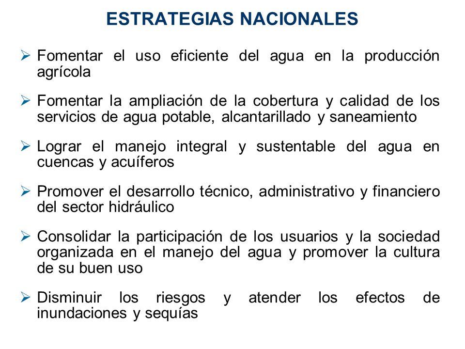 ESTRATEGIAS NACIONALES Fomentar el uso eficiente del agua en la producción agrícola Fomentar la ampliación de la cobertura y calidad de los servicios