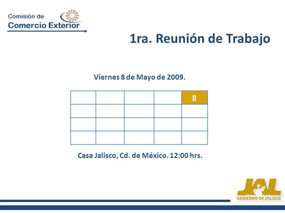 1ra. Reunión de Trabajo 8 Viernes 8 de Mayo de 2009. Casa Jalisco, Cd. de México. 12:00 hrs.