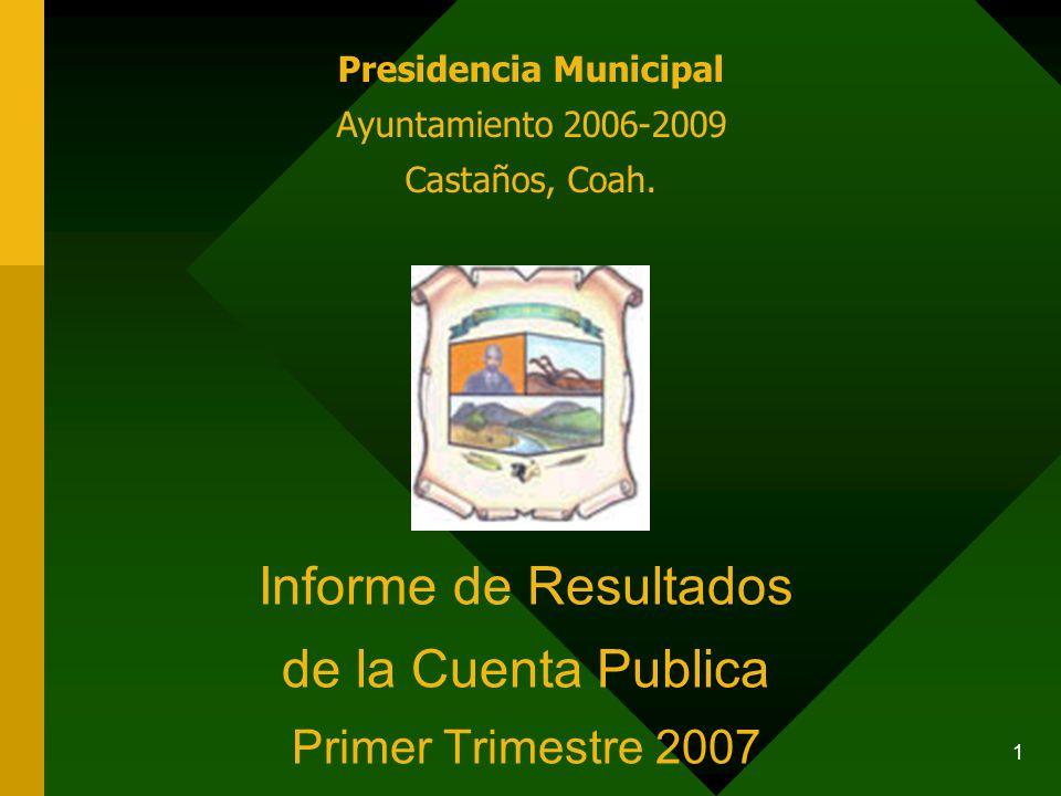 1 Informe de Resultados de la Cuenta Publica Primer Trimestre 2007 Presidencia Municipal Ayuntamiento 2006-2009 Castaños, Coah.