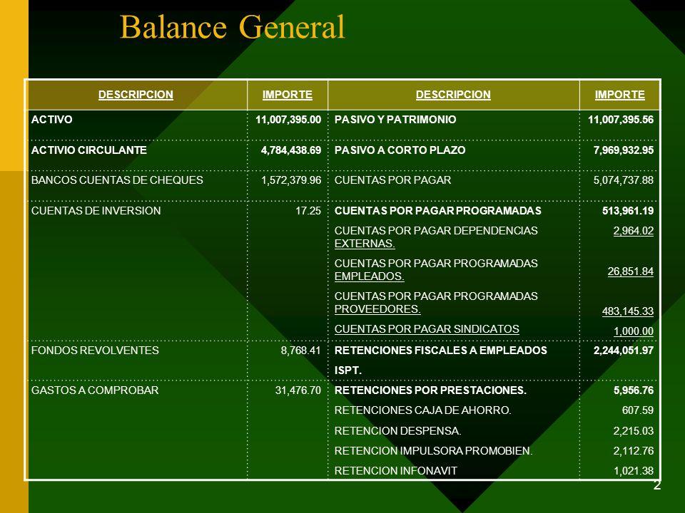 2 Balance General DESCRIPCIONIMPORTEDESCRIPCIONIMPORTE ACTIVO11,007,395.00PASIVO Y PATRIMONIO11,007,395.56 ACTIVIO CIRCULANTE4,784,438.69PASIVO A CORT