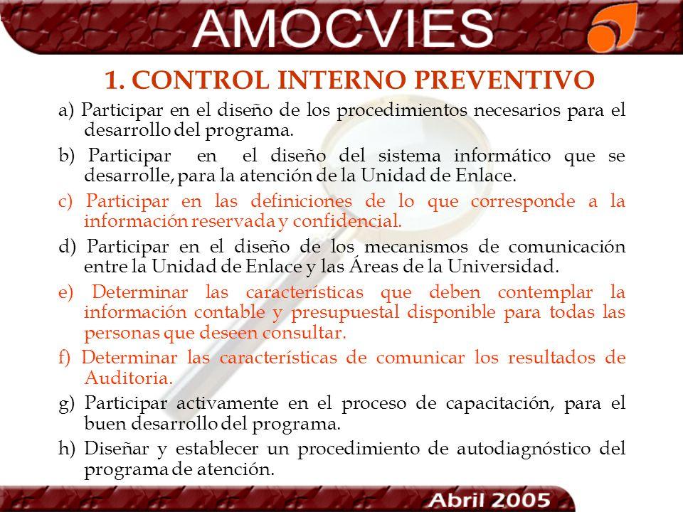 1. CONTROL INTERNO PREVENTIVO a) Participar en el diseño de los procedimientos necesarios para el desarrollo del programa. b) Participar en el diseño