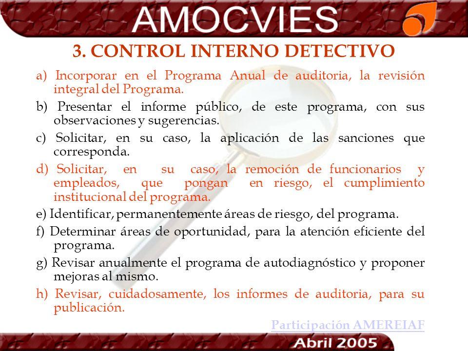 3. CONTROL INTERNO DETECTIVO a) Incorporar en el Programa Anual de auditoria, la revisión integral del Programa. b) Presentar el informe público, de e