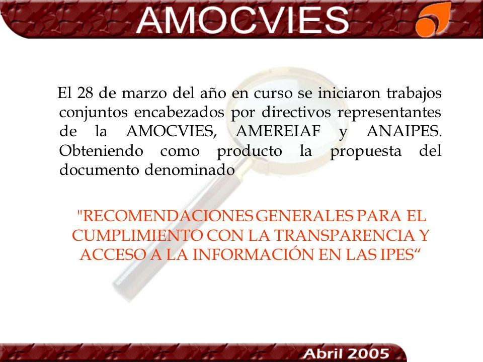 El 28 de marzo del año en curso se iniciaron trabajos conjuntos encabezados por directivos representantes de la AMOCVIES, AMEREIAF y ANAIPES. Obtenien
