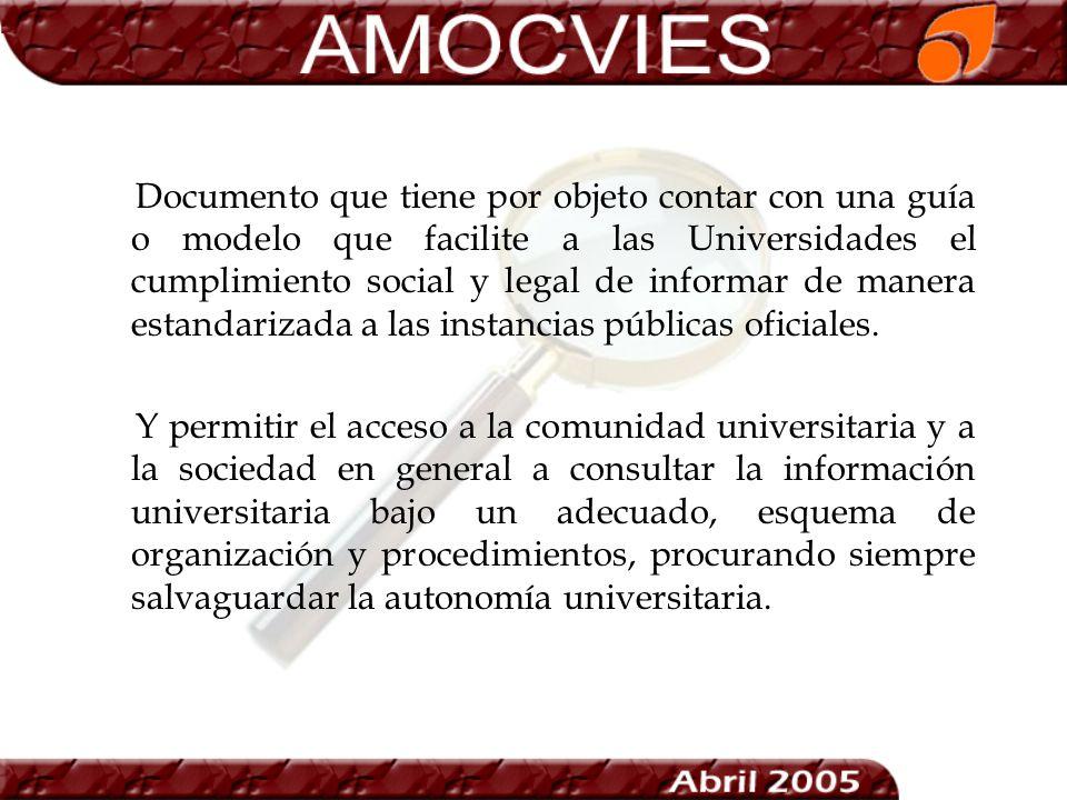 Documento que tiene por objeto contar con una guía o modelo que facilite a las Universidades el cumplimiento social y legal de informar de manera esta