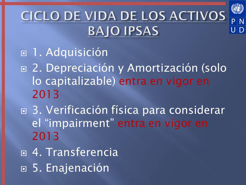 1. Adquisición 2. Depreciación y Amortización (solo lo capitalizable) entra en vigor en 2013 3.
