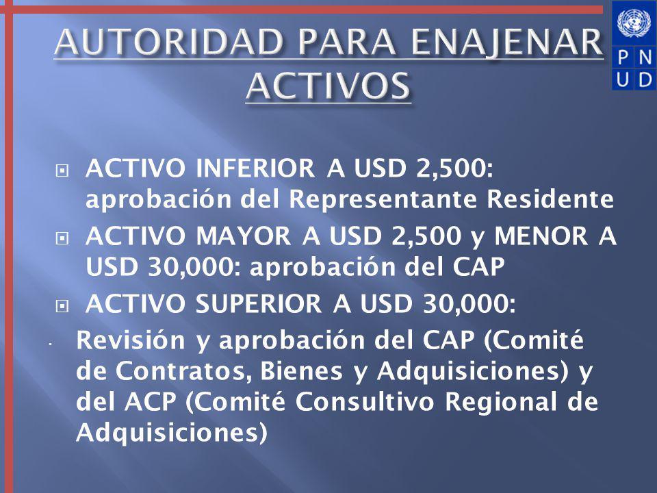 ACTIVO INFERIOR A USD 2,500: aprobación del Representante Residente ACTIVO MAYOR A USD 2,500 y MENOR A USD 30,000: aprobación del CAP ACTIVO SUPERIOR
