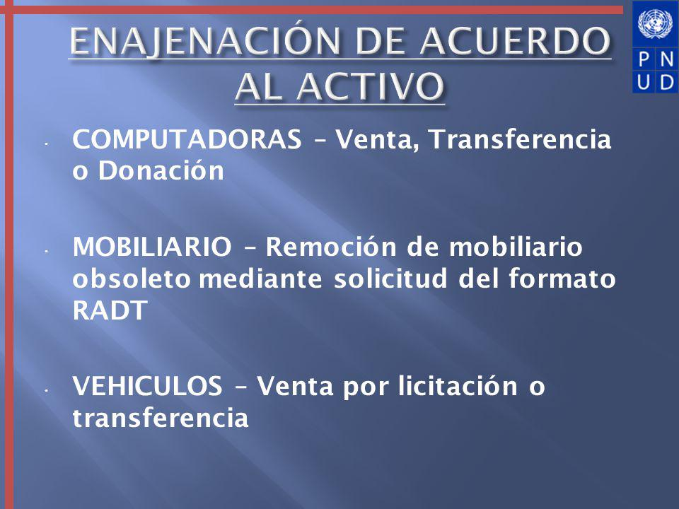 COMPUTADORAS – Venta, Transferencia o Donación MOBILIARIO – Remoción de mobiliario obsoleto mediante solicitud del formato RADT VEHICULOS – Venta por licitación o transferencia