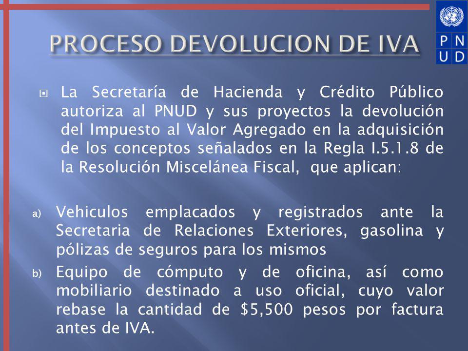 La Secretaría de Hacienda y Crédito Público autoriza al PNUD y sus proyectos la devolución del Impuesto al Valor Agregado en la adquisición de los con