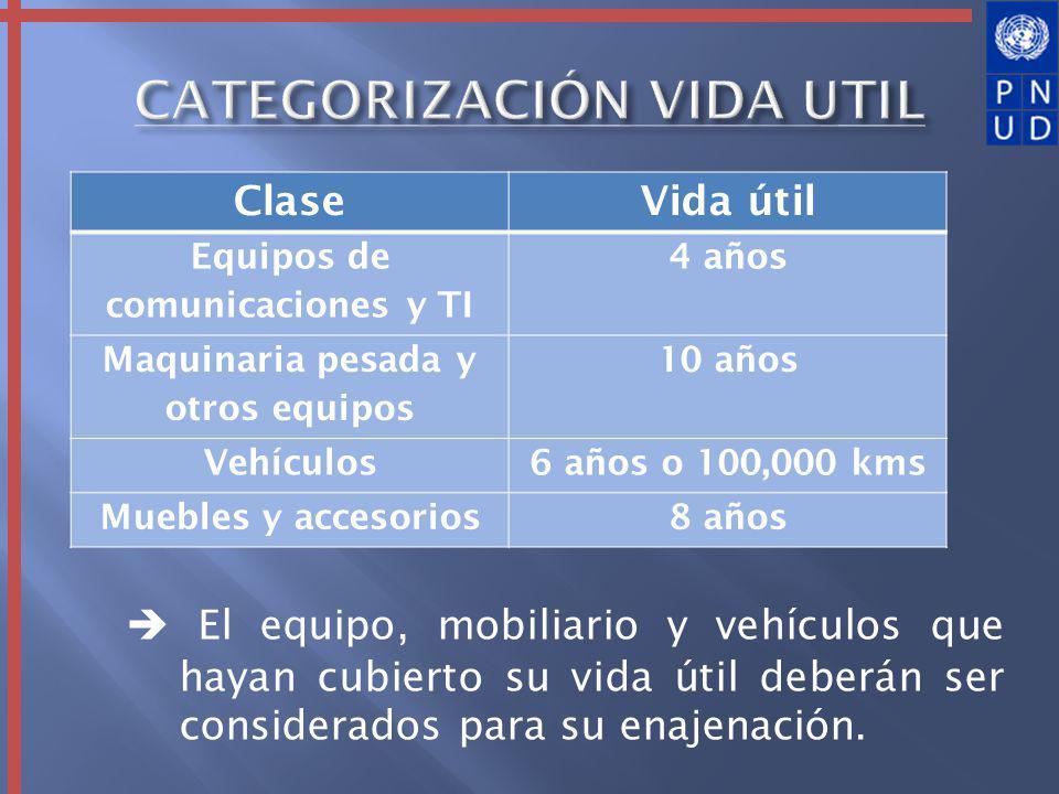 El equipo, mobiliario y vehículos que hayan cubierto su vida útil deberán ser considerados para su enajenación.