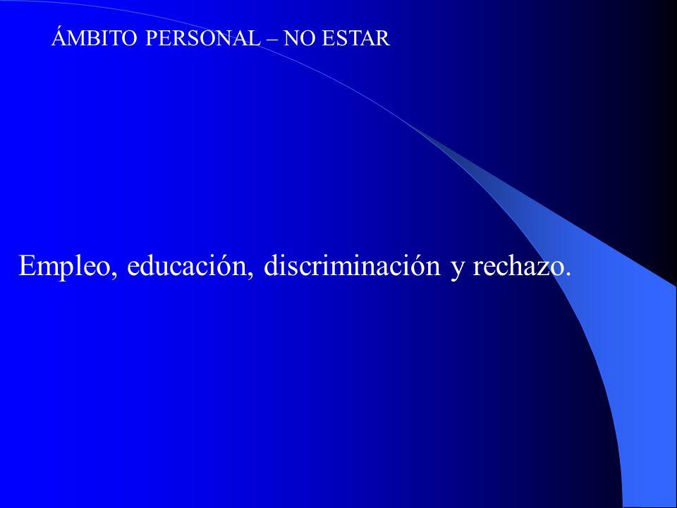 ÁMBITO PERSONAL – NO ESTAR Empleo, educación, discriminación y rechazo.