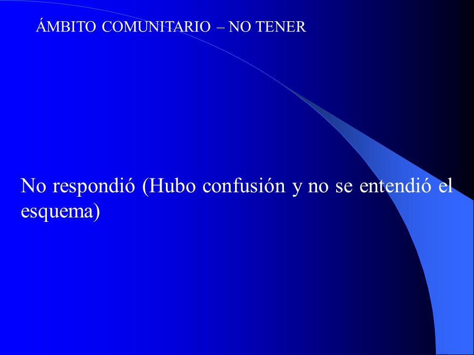 ÁMBITO COMUNITARIO – NO TENER No respondió (Hubo confusión y no se entendió el esquema)