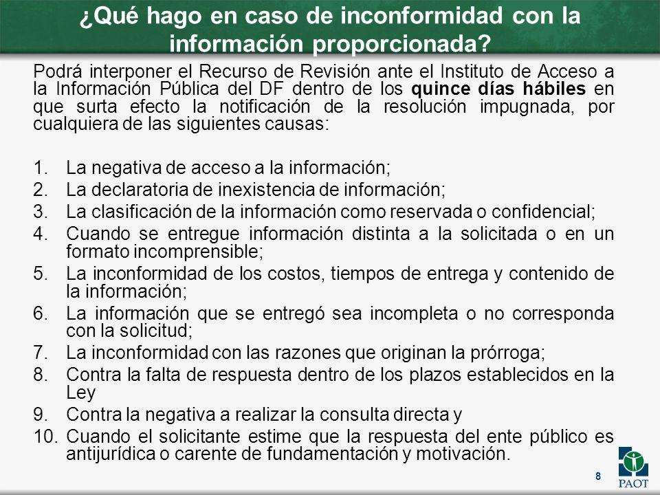 ¿Qué hago en caso de inconformidad con la información proporcionada? Podrá interponer el Recurso de Revisión ante el Instituto de Acceso a la Informac