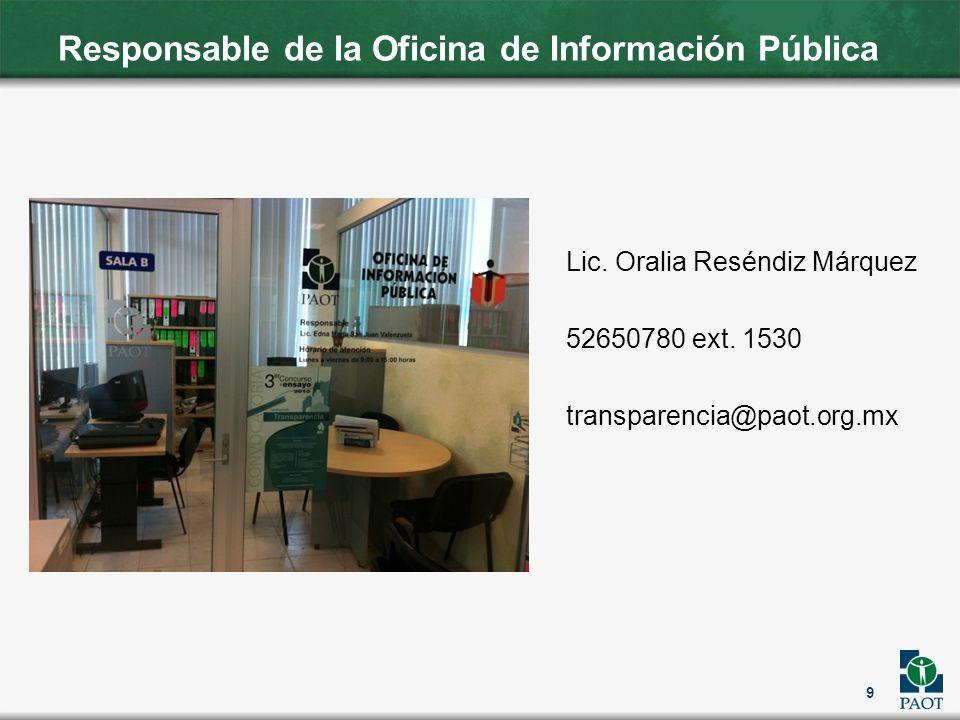 Responsable de la Oficina de Información Pública Lic. Oralia Reséndiz Márquez 52650780 ext. 1530 transparencia@paot.org.mx 9