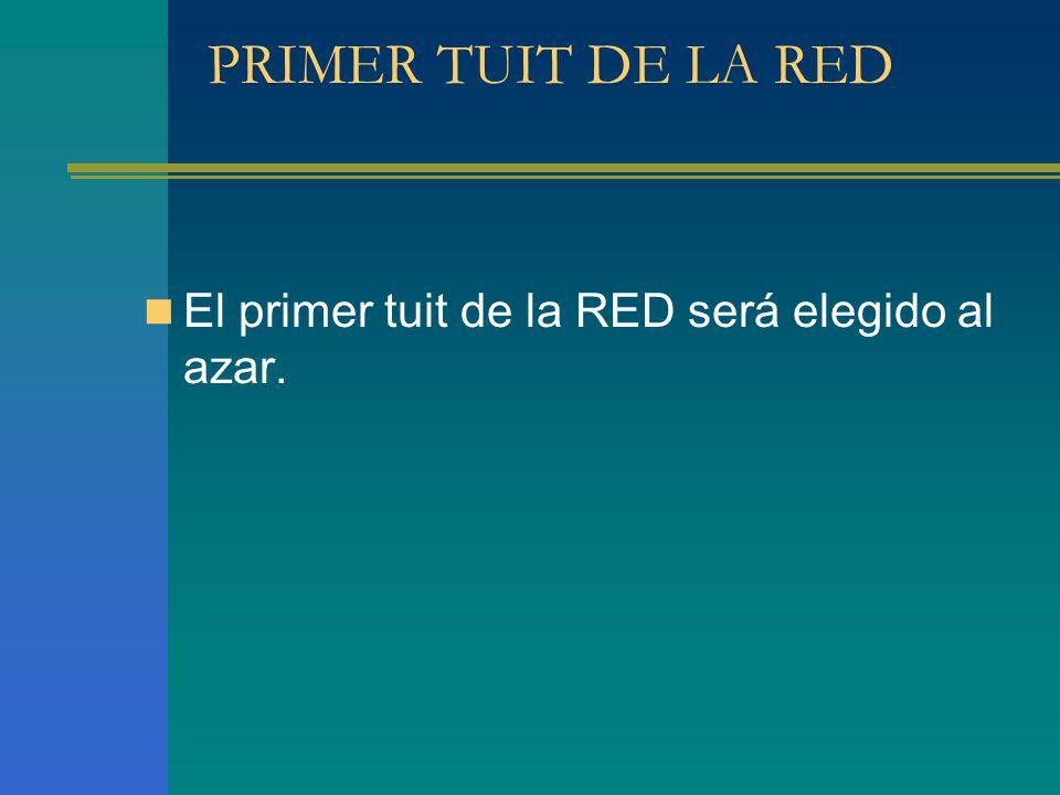 PRIMER TUIT DE LA RED El primer tuit de la RED será elegido al azar.