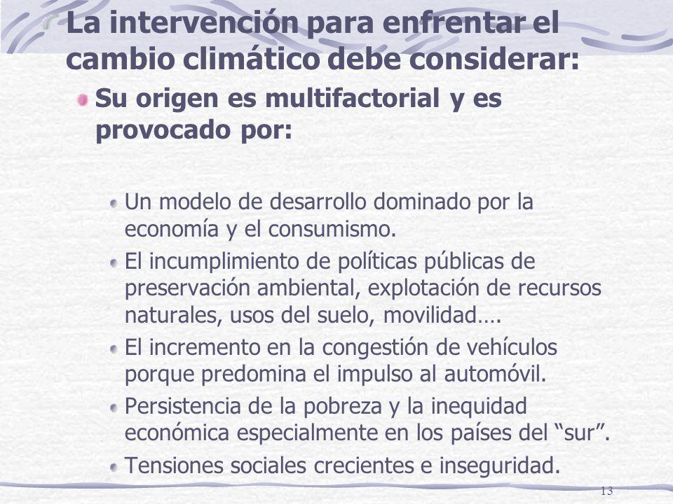 13 La intervención para enfrentar el cambio climático debe considerar: Su origen es multifactorial y es provocado por: Un modelo de desarrollo dominad