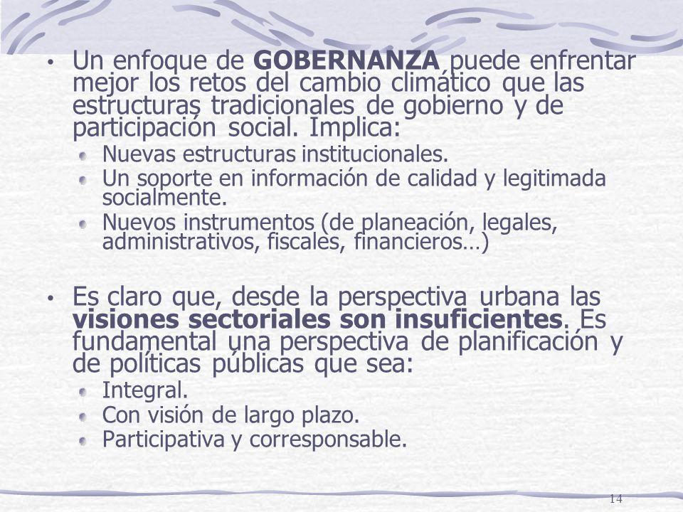 14 Un enfoque de GOBERNANZA puede enfrentar mejor los retos del cambio climático que las estructuras tradicionales de gobierno y de participación soci