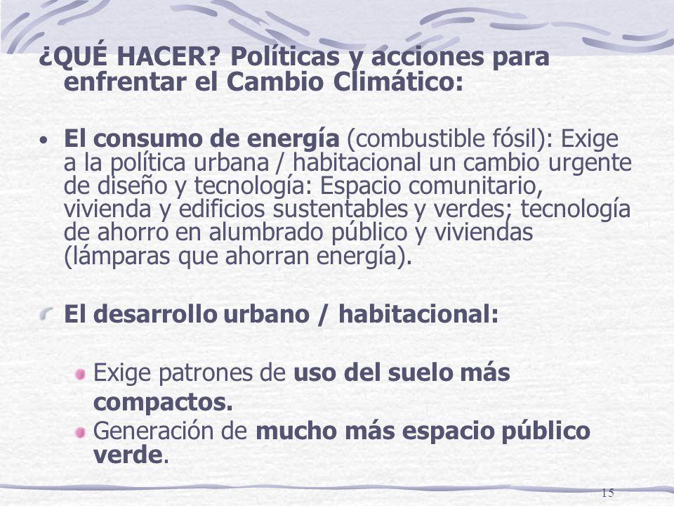 15 ¿QUÉ HACER? Políticas y acciones para enfrentar el Cambio Climático: El consumo de energía (combustible fósil): Exige a la política urbana / habita