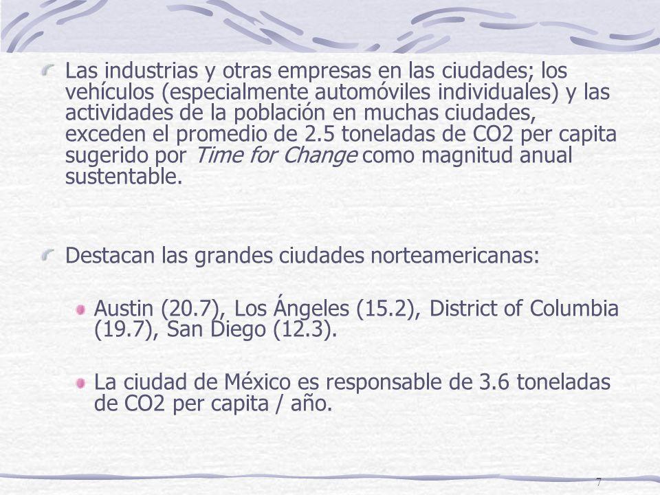 7 Las industrias y otras empresas en las ciudades; los vehículos (especialmente automóviles individuales) y las actividades de la población en muchas