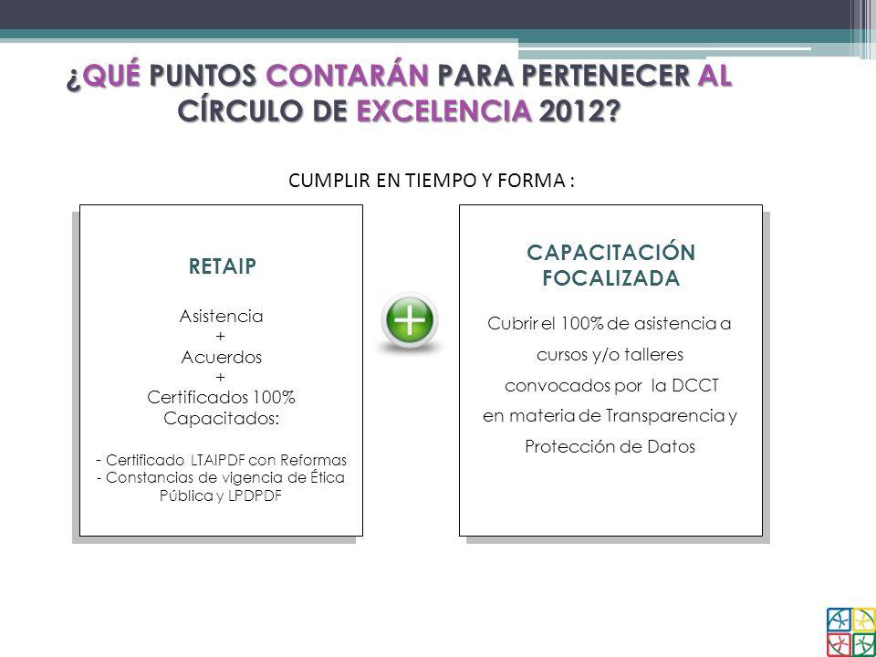 CIRCULO DE EXCELENCIA ¿QUÉ PUNTOS CONTARÁN PARA PERTENECER AL CÍRCULO DE EXCELENCIA 2012? CUMPLIR EN TIEMPO Y FORMA : RETAIP Asistencia + Acuerdos + C