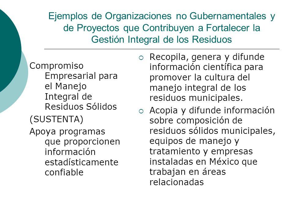Ejemplos de Organizaciones no Gubernamentales y de Proyectos que Contribuyen a Fortalecer la Gestión Integral de los Residuos Compromiso Empresarial p