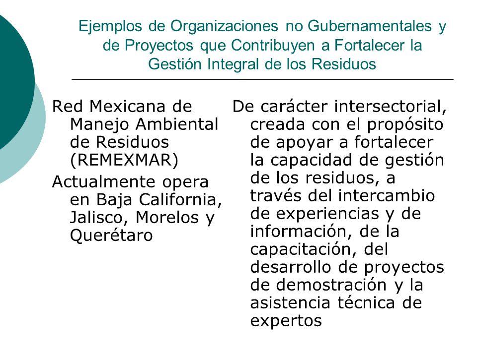 Ejemplos de Organizaciones no Gubernamentales y de Proyectos que Contribuyen a Fortalecer la Gestión Integral de los Residuos Red Mexicana de Manejo A