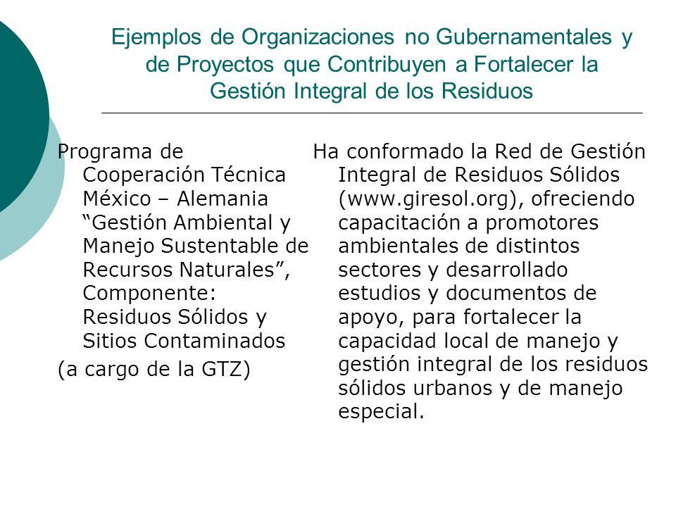 Ejemplos de Organizaciones no Gubernamentales y de Proyectos que Contribuyen a Fortalecer la Gestión Integral de los Residuos Programa de Cooperación Técnica México – Alemania Gestión Ambiental y Manejo Sustentable de Recursos Naturales, Componente: Residuos Sólidos y Sitios Contaminados (a cargo de la GTZ) Ha conformado la Red de Gestión Integral de Residuos Sólidos (www.giresol.org), ofreciendo capacitación a promotores ambientales de distintos sectores y desarrollado estudios y documentos de apoyo, para fortalecer la capacidad local de manejo y gestión integral de los residuos sólidos urbanos y de manejo especial.