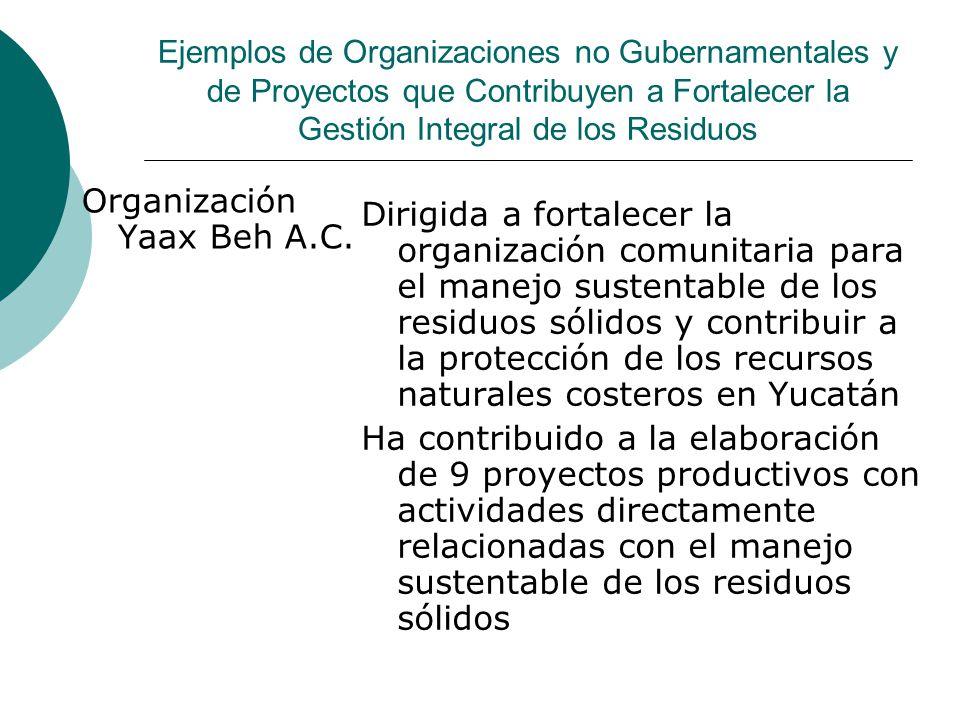 Ejemplos de Organizaciones no Gubernamentales y de Proyectos que Contribuyen a Fortalecer la Gestión Integral de los Residuos Organización Yaax Beh A.