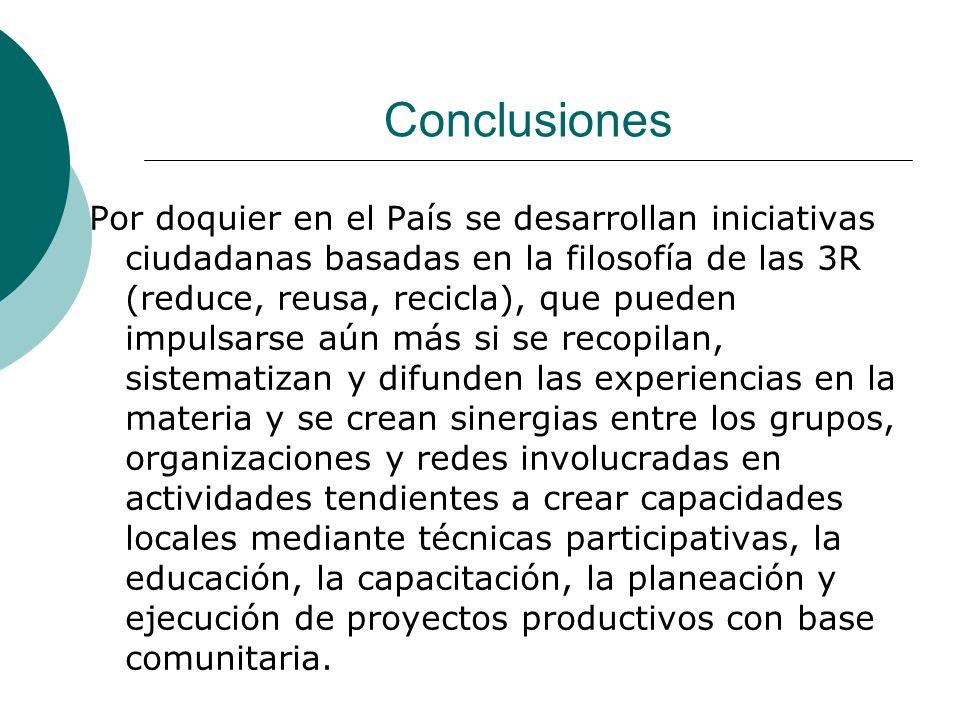 Conclusiones Por doquier en el País se desarrollan iniciativas ciudadanas basadas en la filosofía de las 3R (reduce, reusa, recicla), que pueden impul
