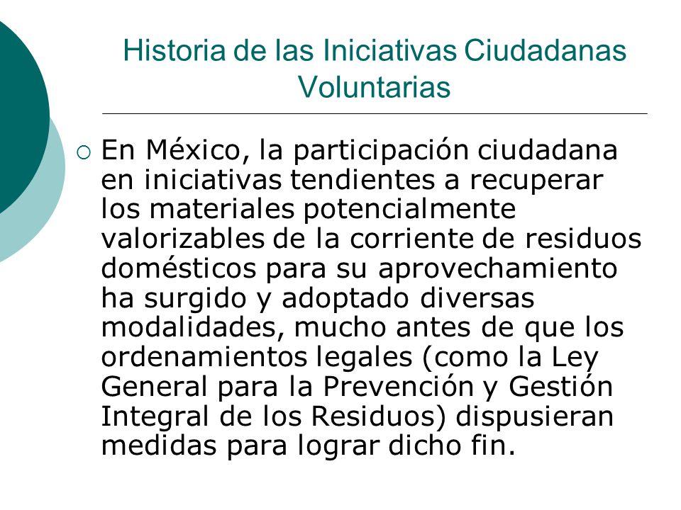 Historia de las Iniciativas Ciudadanas Voluntarias En México, la participación ciudadana en iniciativas tendientes a recuperar los materiales potencia