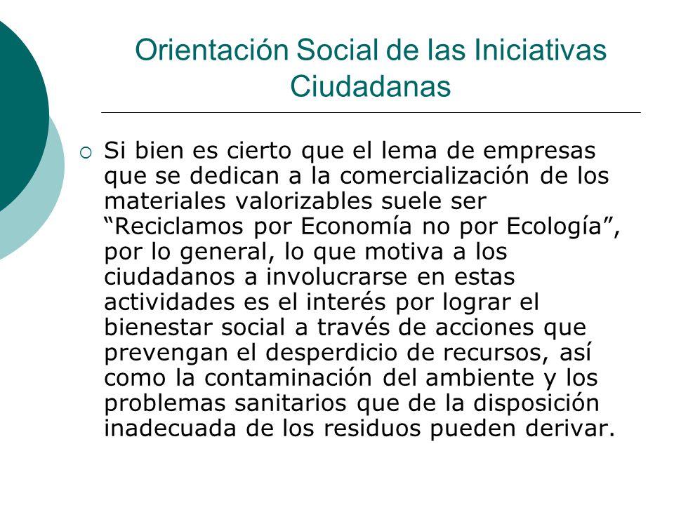 Orientación Social de las Iniciativas Ciudadanas Si bien es cierto que el lema de empresas que se dedican a la comercialización de los materiales valo