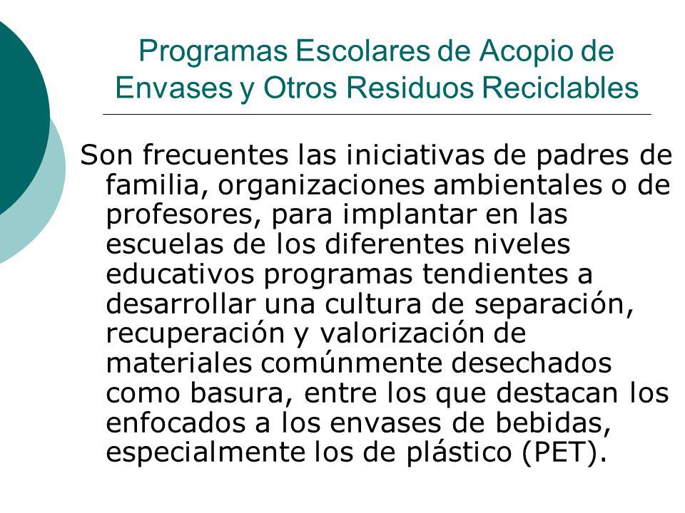 Programas Escolares de Acopio de Envases y Otros Residuos Reciclables Son frecuentes las iniciativas de padres de familia, organizaciones ambientales