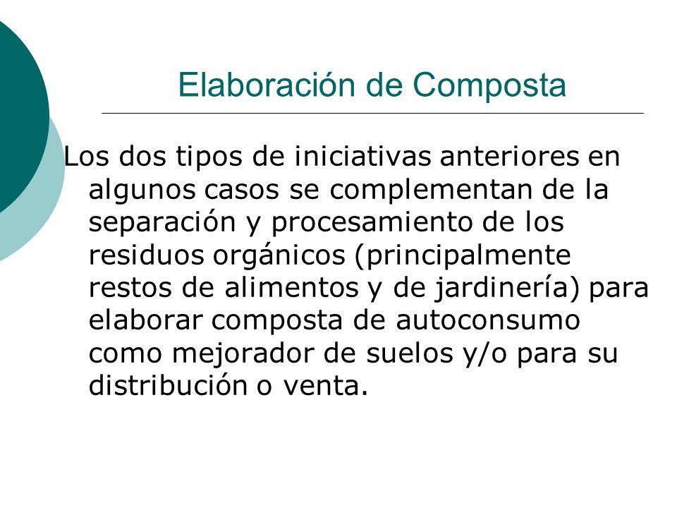 Elaboración de Composta Los dos tipos de iniciativas anteriores en algunos casos se complementan de la separación y procesamiento de los residuos orgá
