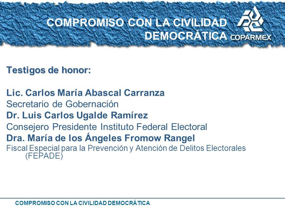 COMPROMISO CON LA CIVILIDAD DEMOCRÁTICA Testigos de honor: Lic. Carlos María Abascal Carranza Secretario de Gobernación Dr. Luis Carlos Ugalde Ramírez