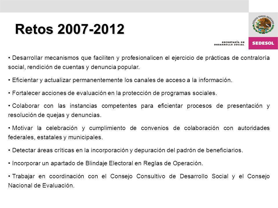 Retos 2007-2012 Desarrollar mecanismos que faciliten y profesionalicen el ejercicio de prácticas de contraloría social, rendición de cuentas y denuncia popular.
