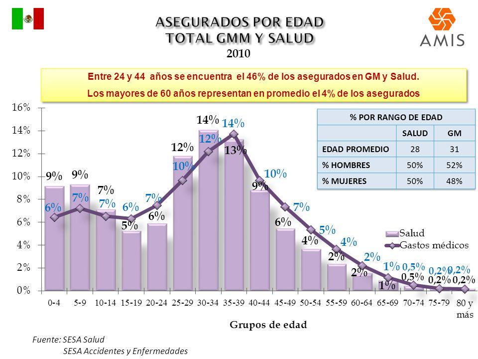 2010 Fuente: SESA Salud SESA Accidentes y Enfermedades