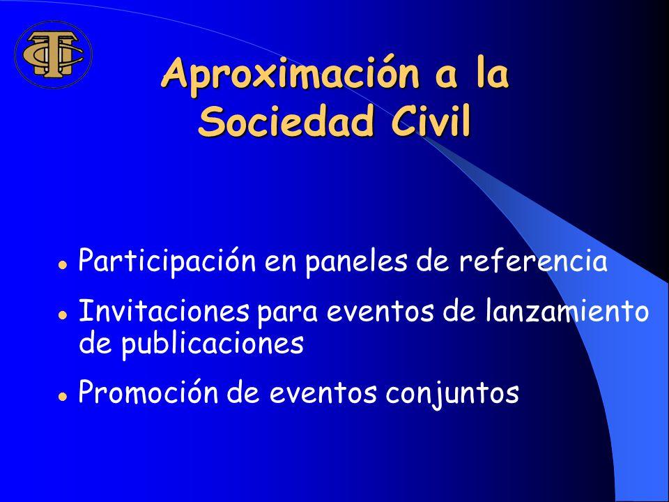 Aproximación a la Sociedad Civil Participación en paneles de referencia Invitaciones para eventos de lanzamiento de publicaciones Promoción de eventos conjuntos