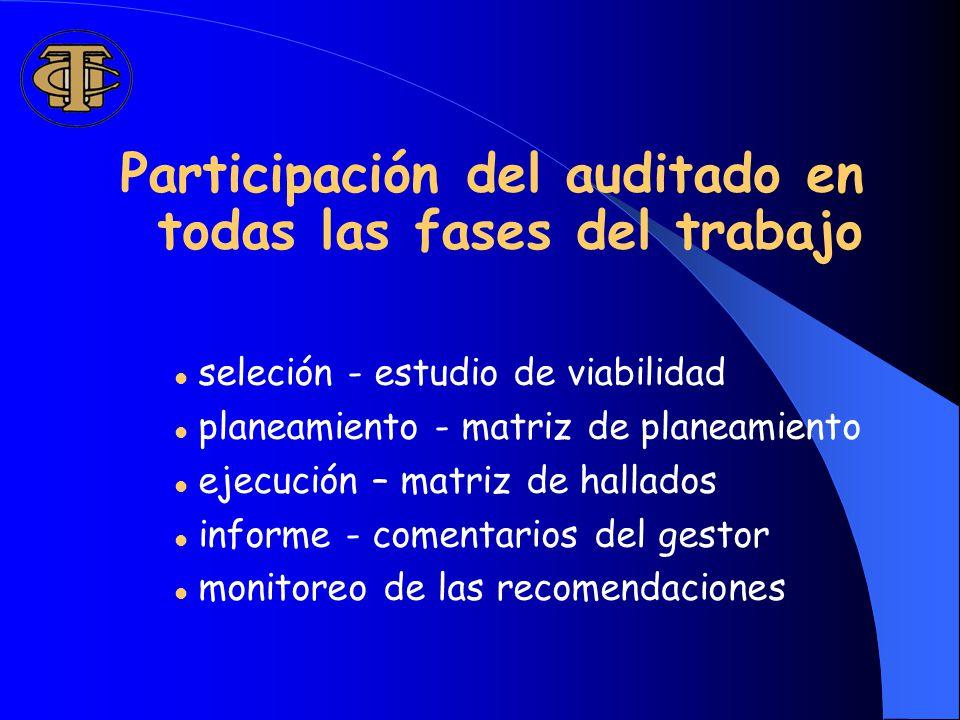 Participación del auditado en todas las fases del trabajo seleción - estudio de viabilidad planeamiento - matriz de planeamiento ejecución – matriz de hallados informe - comentarios del gestor monitoreo de las recomendaciones