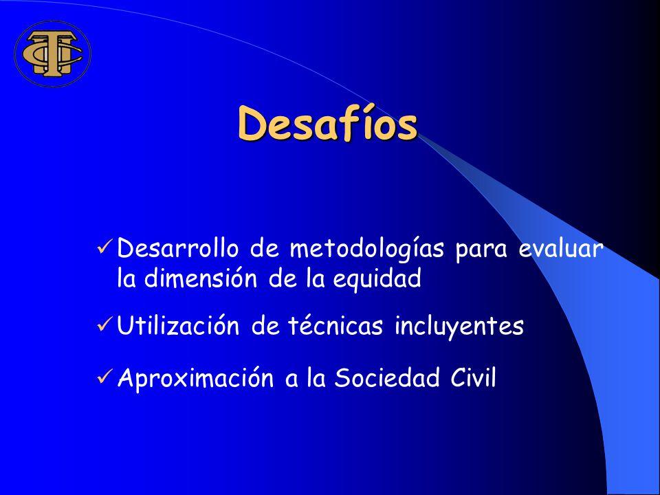 Desafíos Desarrollo de metodologías para evaluar la dimensión de la equidad Utilización de técnicas incluyentes Aproximación a la Sociedad Civil