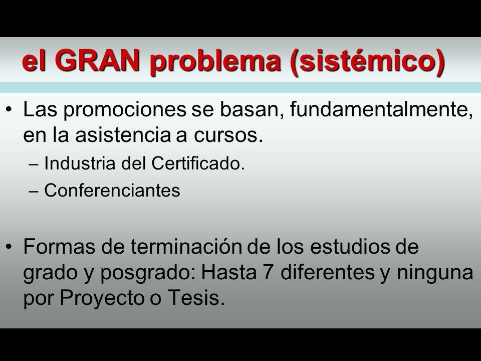 el GRAN problema (sistémico) Las promociones se basan, fundamentalmente, en la asistencia a cursos.